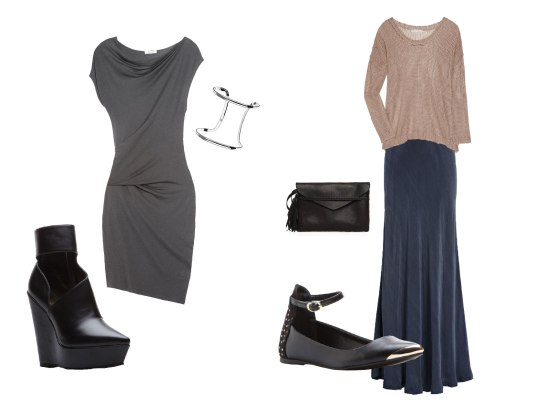 draped dress with ankle boots / maxi skirt with open knit sweater and ankle strap flats