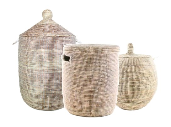 pretty woven African baskets that can be used as a laundry hamper