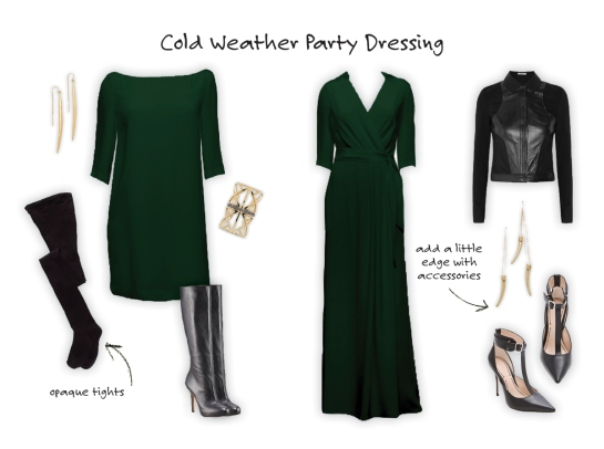 how to wear a dress in cold weather - party outfit
