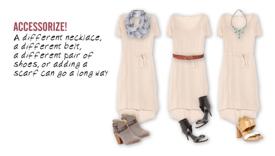 3 ways to accessorize a white jersey dress