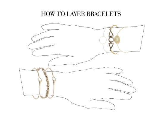 how to stack bangles, cuffs, and bracelets