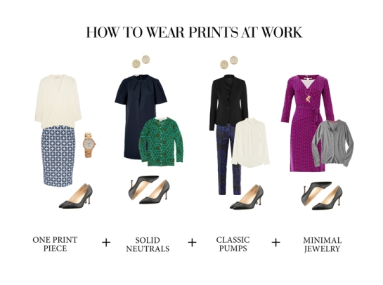 how to wear prints at the office