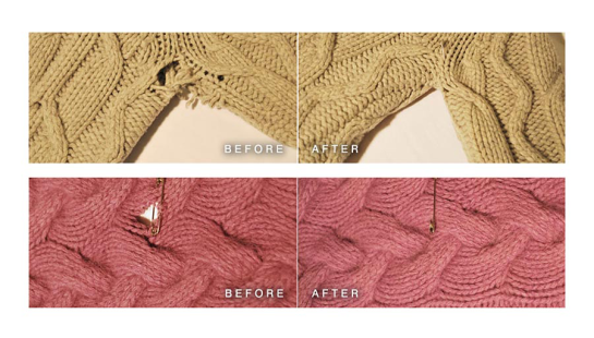 before and after sweater repair images from Alterknit