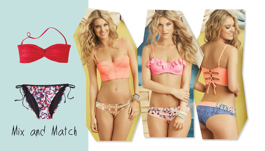 Mix and Match Swim Suit Tops and Bottoms