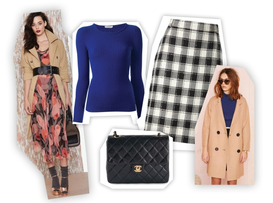 vintage clothes: dress, ribbed sweater, gingham pencil skirt, Chanel bag, coat