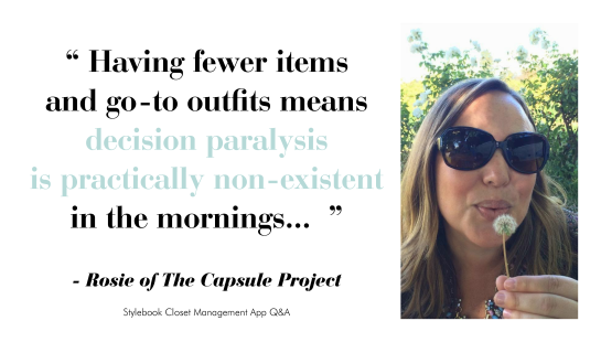 Rosie of The Capsule Project - Advice on Capsule Wardrobes